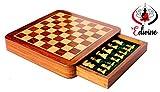 Hölzerne Magnet Classic Square mit Schublade Schachbrett '25.3cm X 25,3cm'/Premium quatily Sheesham/weiß Holz Schach/Holz Spielt Schach/Reisespiele magnetisch Schach Sets