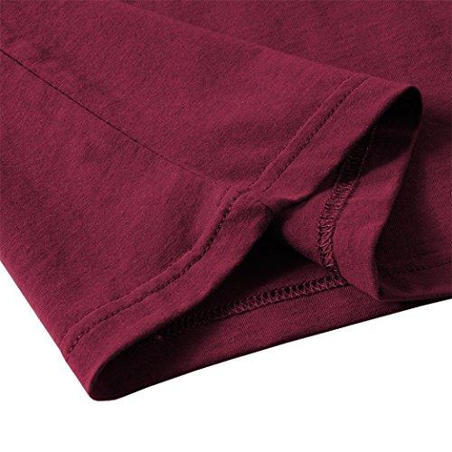 Yeesea Donna Casuale Manica corta Sottile T-shirt Estate collo a V Solido Tops Tee Vino rosso