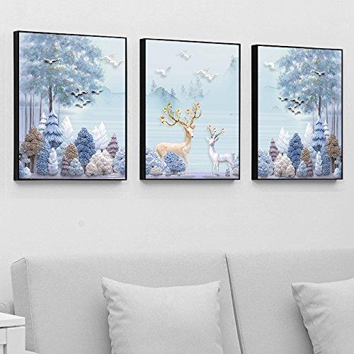 Paintsh Décoration Chambre Salon Dessin Peinture Murale Mur à l'arrière-Plan de la Table boîte de Compteur, Triple 40X60cm, Elk Forest - Chambre Triple