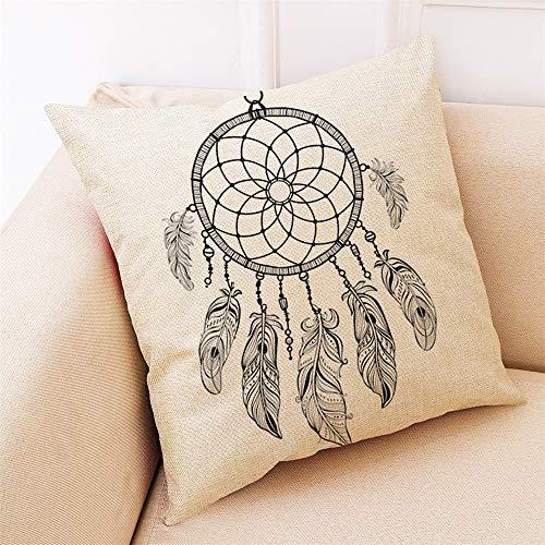 Wangji Duradero Suave Decorativo Funda de Almohada cojín para sofá Dormitorio Coche Fundas de cojín,4PACKS Lino atrapasueños imprimiendo 45 * 45CM