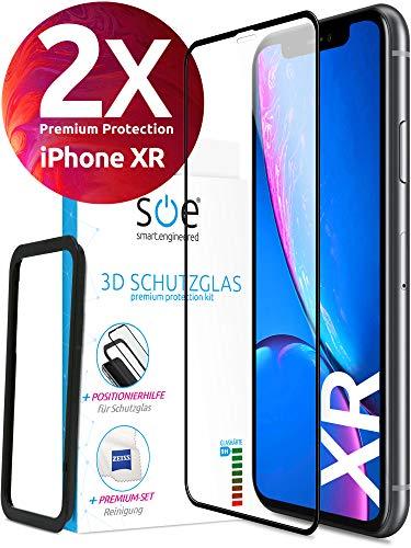 smart engineered Gehärtetes 3D Glas - kompatibel mit iPhone Xr - Schutzfolie 2 x Folie Vo
