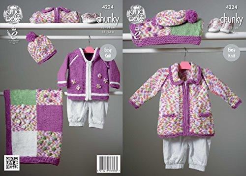 King Cole Strickmuster Prospekte m .Loch 4224 Baby Decke, Hundemantel, Mantel und der Hut knit Tragekomfort Chunky (Decke Handwerk Brust)