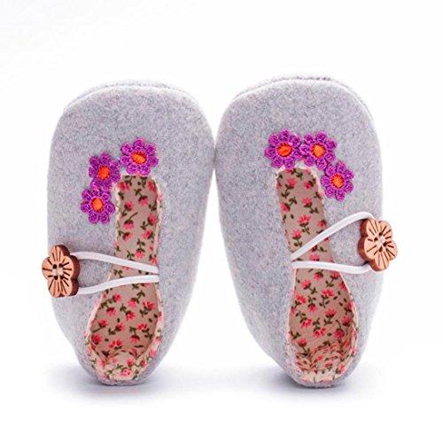 kingko® Neugeborene Baby Krippe schuhe Weiche alleinige Anti Rutsch Blumen Turnschuhe Prewalker Schuhe Gray