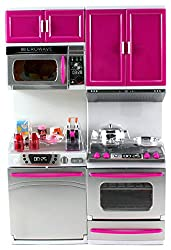 My Modern Kitchen Dishwasher Oven Battery Operated Toy Doll Kitchen Playset W/ Lights, Sounds, Perfect For Use With 11 12