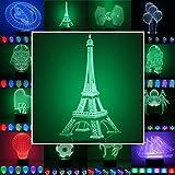3D Lampe 3D Leuchte 3D LED Stimmungslicht. 7 Farben - 81 verschiedene Motive, hier Eiffelturm ca.25x13cm inkl.Sockel - 3D Illusion Dekolicht mit USB Anschluß und 220V USB Netzteil
