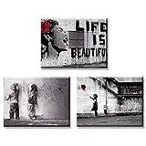 Piy Painting 3X Impression sur Toile de La Vie est Belle Fille avec Ballon Rouge Graffiti Garçons sur la Rue, Prêt Suspendu Peinture pour Art Déco Murale Salle de Bain Cadeau Anniversaire 30x40cm...