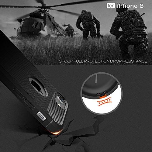 IPHONE 8 Custodia,2ndSpring Protettiva Case Cover Nero Custodia IPHONE 8 Silicone Molle Cover per IPHONE 8 Smartphone Soft TPU Case Nero