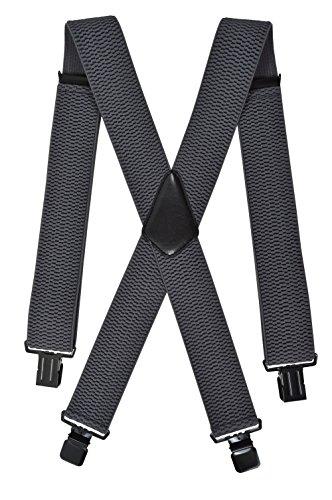 Extra Lange, Extra Breite XXL Hosenträger X-Form mit 4 Starken Clips, Stark Stoff - 5cm. Dunkelgrau / Schwarz Clips