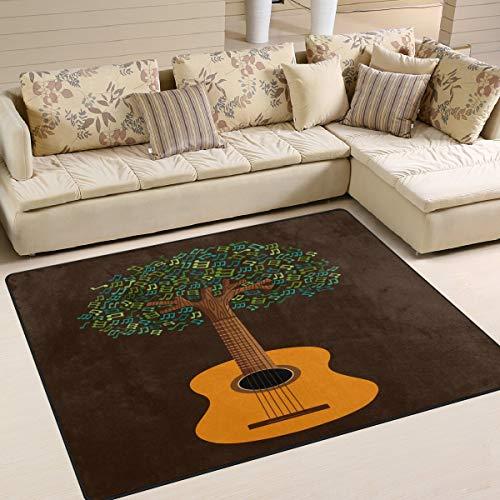 Tapis de Guitare 80 x 58 Pouces avec Note de Musique pour la Salle de séjour