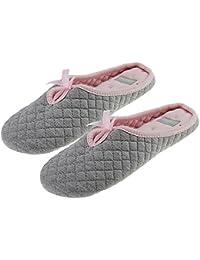 BXT Ladies Zapatillas de casa para mujer, algodón suave 100%, diseño con lazo
