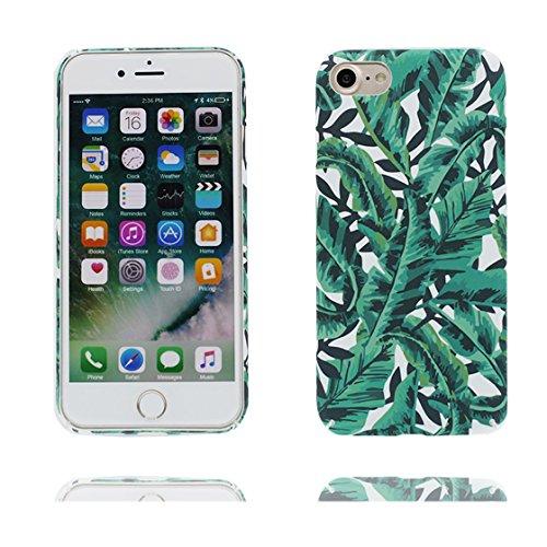 Custodia iPhone 6 Plus, iPhone 6s Plus copertura case in silicone TPU leggero sottile adatto Cover per iPhone 6S Plus / 6 Plus 5.5 Inch- gatto Cat bianca elegante foglie di palma