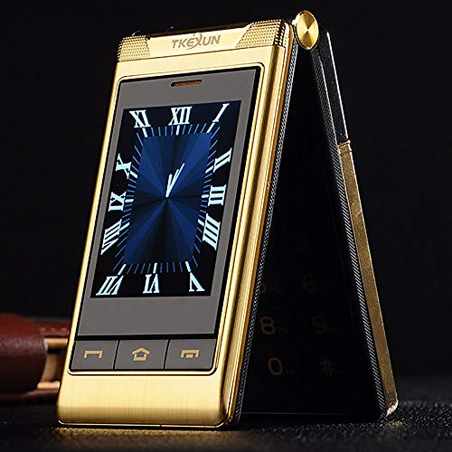 """Flip-Telefon des Alten Mannes, G10 3.0""""Dual Dual Screen Dual-SIM-Karte Lange Standby-Touchscreen FM Senior Telefon Flip-Handy für alte Menschen (Gold)"""