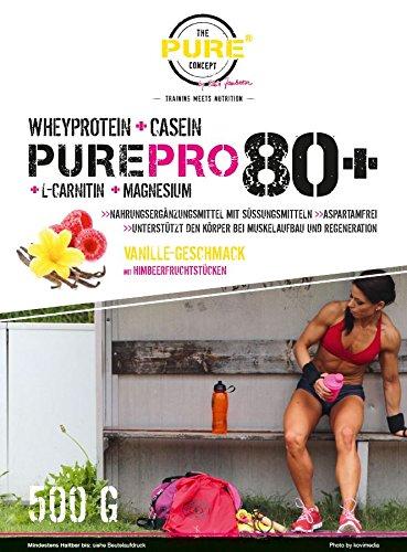 Preisvergleich Produktbild PURE Pro 80+ Whey Plus Casein Vanille mit getrockneten Himbeerstücken 500 Gramm