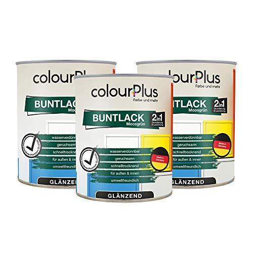 colourPlus 2in1 Buntlack (2,25L, RAL 6005 Moosgrün) glänzender Kunstharz-Lack für Lackierungen im Innen- und Außenbereich, Made in Germany