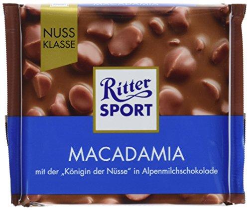 """RITTER SPORT Macadamia (100 g), die \""""Königin der Nüsse\"""" umhüllt von bester Vollmilchschokolade, Tafelschokolade, mit halben Macadamia-Nüssen"""