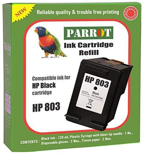 Parrot HP 803 Black Ink Cartridge Refill for Desk Jet Printer 1111 1112 2131 2132 2621