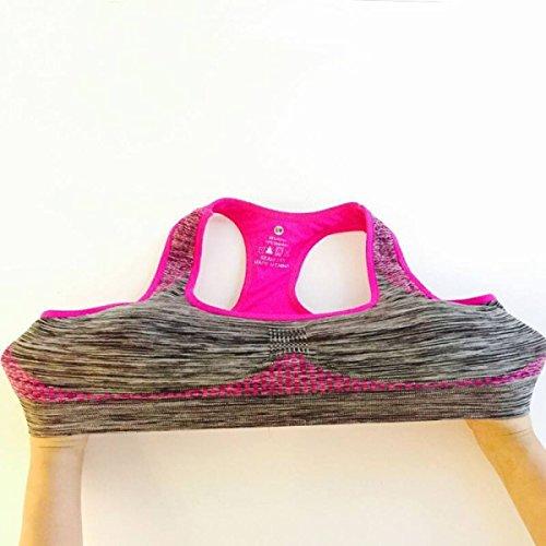 JFIN Soutien-gorge De Sport En Cuir T-Back En Polyester Mélange De Polyester Croix Arrière Soft Wireless Pink Pro Indy Red