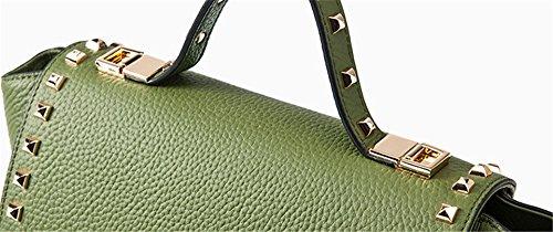 Xinmaoyuan Borse donna borsette in cuoio Bat Ali borsa tracolla maniglia rivetto borsa messenger,verde Verde
