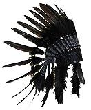 N64 Sombrero Indio , Penacho , Tocado de plumas de color negro con pelo negro