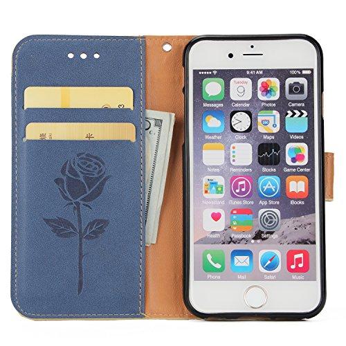 Custodia iPhone 6S Plus,Cover iPhone 6 Plus,Leweiany Creativo Luxury Fantasia Belle Embossed Rose Fiore Premium PU Custodia del Cuoio Copertura Rigida Ragazza Donne Uomo Protettiva Custodia in Pelle P Blu