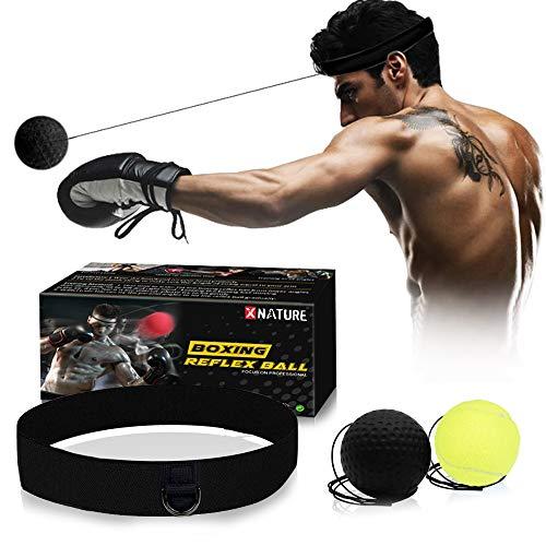 Xnature Boxen Training Ball Reflex Fightball Speed Fitness Punch Boxing Ball mit Kopfband, Trainingsgerät Speedball für Boxtraining Zuhause und Outdoor MEHRWEG (Schwarz + Grün & Box)
