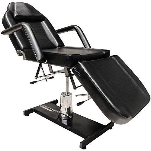 Eyepower Table de Massage fixe185cm lit cosmetique 3 Zones pivotant 360° Noir