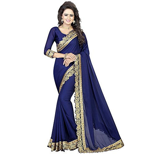 Siddeshwary Fab Women's Chiffon Silk Blue color Saree With Blouse Piece (...