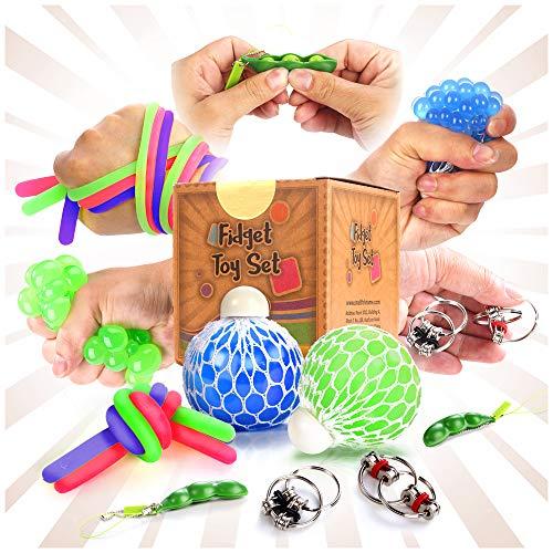OleOletOy Anti Stress Spielzeug Set- 9 Stück ADHS Squeeze Spielzeug Stresskiller Fidget Toys für Kinder und Erwachsene - Stressball, Powerschnur, Squeeze Bohnen, Flippy Chain usw. inbegriffen