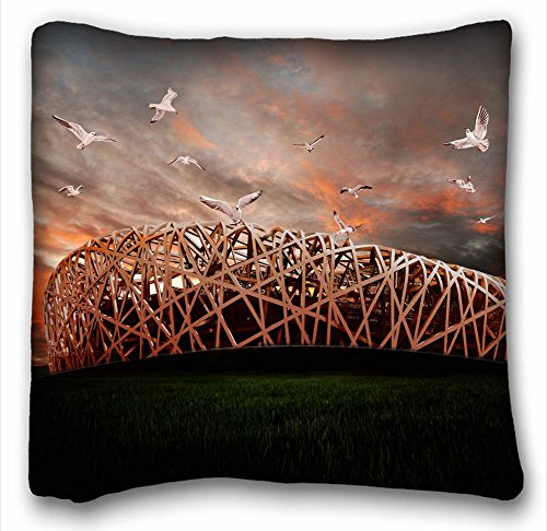 decorative-square-throw-pillow-case-animals-buffalo-horn-s-grass-flowers-457-x-457-cm-two-side-satin