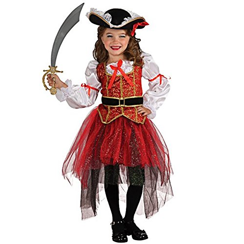 CHICTRY [ Top + Rock + Hut + Gürtel ] Kinder Mädchen Glamouröse Piraten Kostüm Piratenkleid für Halloween Karneval Copslay Kostüme Größe 92-140 Schwarz + Rot + Weiß 134-140