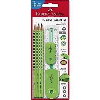 Faber-Castell 217066–Set Sleeve material escolar grande, 6piezas con regla, color verde claro