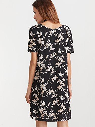 ROMWE Damen Kurzarm Casual Bohemian Sommerkleid mit Paisley Aufdruck Schwarz #2