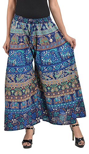 Chanchal Fashion Women Plazo (Blue in Multi_coloured_Free_Size)
