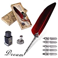 VABNEER Quill Pen Feather Pen Ink Pen Feather Calligraphy Pen Set Writing Quill Pen with Ink & 5 Replacement Nibs for Stationery Gift