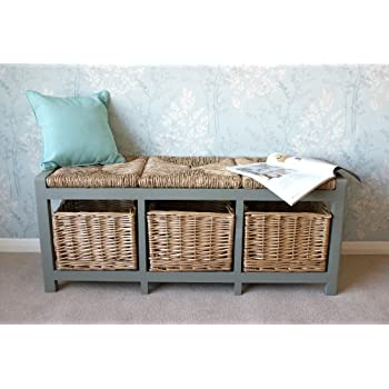 Gloucester 3 Seater Storage Bench in Blue Grey finish with 3 Drawers Wicker Rattan Baskets, Cabinet Farmhouse