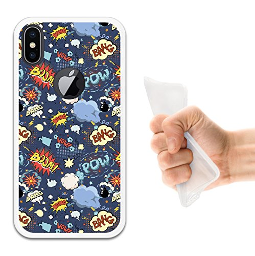iPhone X Hülle, WoowCase Handyhülle Silikon für [ iPhone X ] Rosa zuckeriger Totenkopf Handytasche Handy Cover Case Schutzhülle Flexible TPU - Transparent Housse Gel iPhone X Transparent D0398
