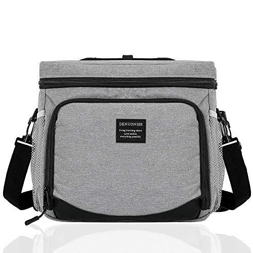 COOTA 15L Isoliertasche mit Große Kapazität and faltbar, Isolierte Schultertaschen, Kühltasche mit Deckel zum Öffnen, Heiße und kalte Isolationstasche mit verstellbarem Schultergurt (Grau) -