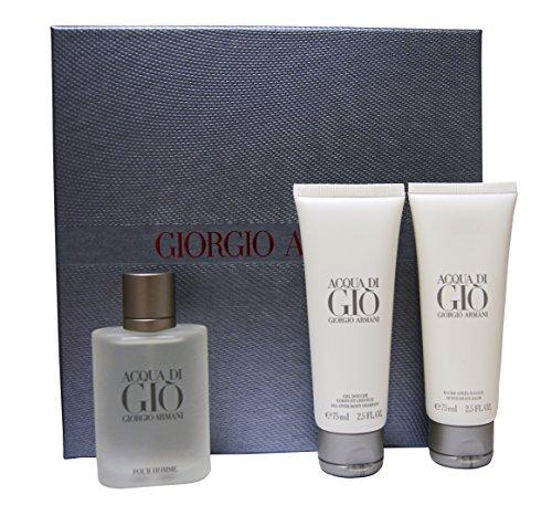Giorgio Armani ARMANI ACQUA DI GIO for Men Geschenkset : 50ml EDT Spray, 75ml All Over Body Shampoo & 75ml After Shave Balm