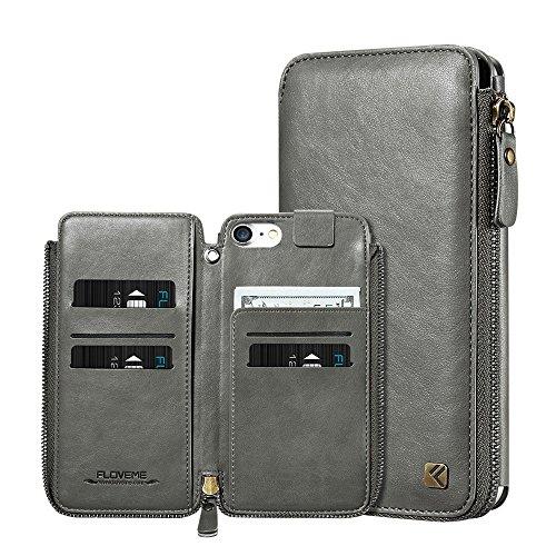 Phone Case & Hülle für iPhone 6 & 6 s Crazy Horse Textur Reißverschluss horizontale Flip schützende Ledertasche mit Kartensteckplätzen & Brieftasche & Lanyard ( Color : Red ) Grey