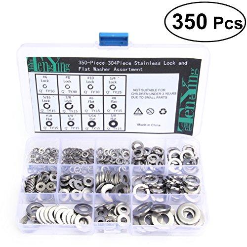 Spring Lock Washer (ounona 350pcs Edelstahl Unterlegscheiben Split Lock Spring Unterlegscheiben Schraube Dichtung Sortiment Kit)