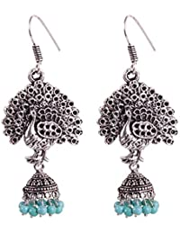 FRESCORR Traditional Antique Boho Vintage Earring Collection Oxidized Silver Plated Peacock Design Jhumki for Women and Girls