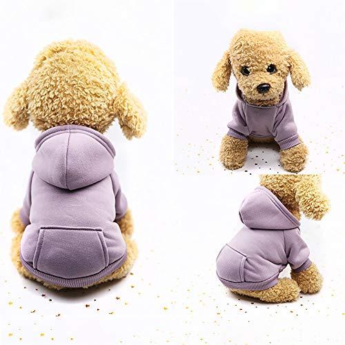 U.Expectating Hundekleidung Hoodie Winter warmen Welpen Mantel Stricken Welpen Pullover (S, Lila)