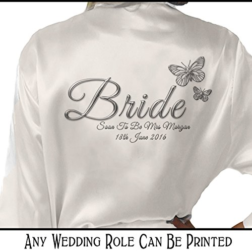 Personalised Satin Kimono /Robe Printed Silver Effect Butterfly Design. Bride, Bridesmaid, (Bride) - 51H0zfEpTcL - Personalised Satin Kimono /Robe Printed Silver Effect Butterfly Design. Bride, Bridesmaid, (Bride)