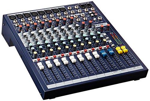 Soundcraft EPM8 - Console mono a 6 vie + 2 canali stereo (8 ingressi microfonici XLR, fader da 80 mm), colore grigio