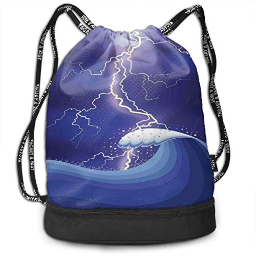 Multipurpose Drawstring Bag for Men & Women, Heavy Storm In The Ocean Dark Thunder Scenery Cartoon with A Huge Wave,Tote Sack Large Storage Sackpack for Gym Travel Hiking -