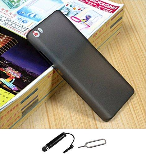 TCA 0.3mm Ultrathin Polycarbonate Frosted Matte Case for Xiaomi Mi4 - Black + Mini Stylus & Eject Pin