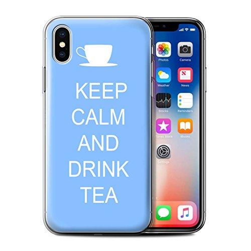 Stuff4 Gel TPU Hülle / Case für Apple iPhone X/10 / Einkaufen Gehen/Rosa Muster / Bleib Ruhig Kollektion Tee Trinken/Blau