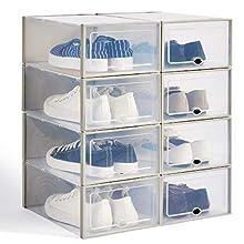 Hapilife 8pcs Shoe Box Stackable Shoe Storage Box Clear Plastic Shoe Organiser Box Ladies Men 35.5x22.5x13.5CM (Grey)