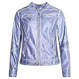 Rino & Pelle Damen Lederjacke Kunstlederjacke Bikerjacke Morin Rosa Blau Jeansblau Stehkragen Perforiert Brusttaschen Gr. 36-46 (38, Jeansblau)