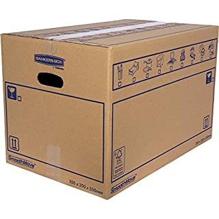 SmoothMove Heavy Duty Double Wall Cardboard Moving and Storage Boxes with Handles - 67 Litre, 35 x 35 x 55 cm (10 Pack)